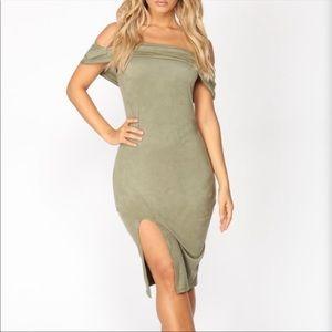 Olive Suede•Off The Shoulder•Slit•Midi Dress